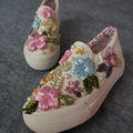 Hand Made Vivid Flower Canvas Shoes Women Lazy Pedal Thick Bottom Shoes Loafer Set Foot Shoes Women Vintage Canvas Shoes