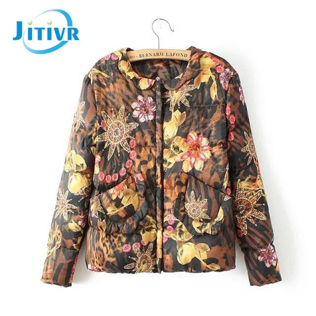 Jitivr 2016 Fangle European Women's Elegant Women Short Winter Cotton Padded Clothes Printing Flowers Baseball Jacket Warm Coat