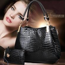 2016 summer genuine Leather large handbag paragraph tide crocodile grain cowhide shoulder bag female handbag Free Shipping