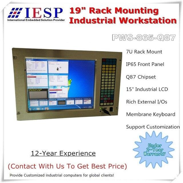 ラックマウント産業用コンピュータ、 15 インチ液晶、 Q87 チップセット、 LGA1150 CPU 、 5 * COM 、 4 * USB3.0 、ラックマウント産業用パネル pc