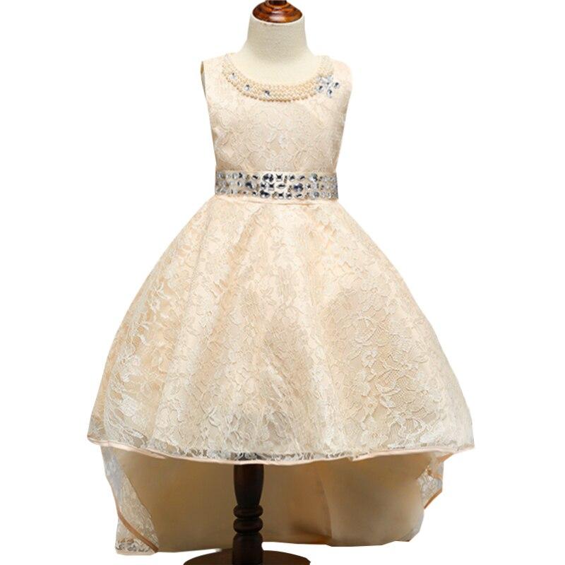 Retail Lace Pearls Beading Princess Formal Party Trailing Long Dress Elegant Crystal Belt Flower Girls Dress L493