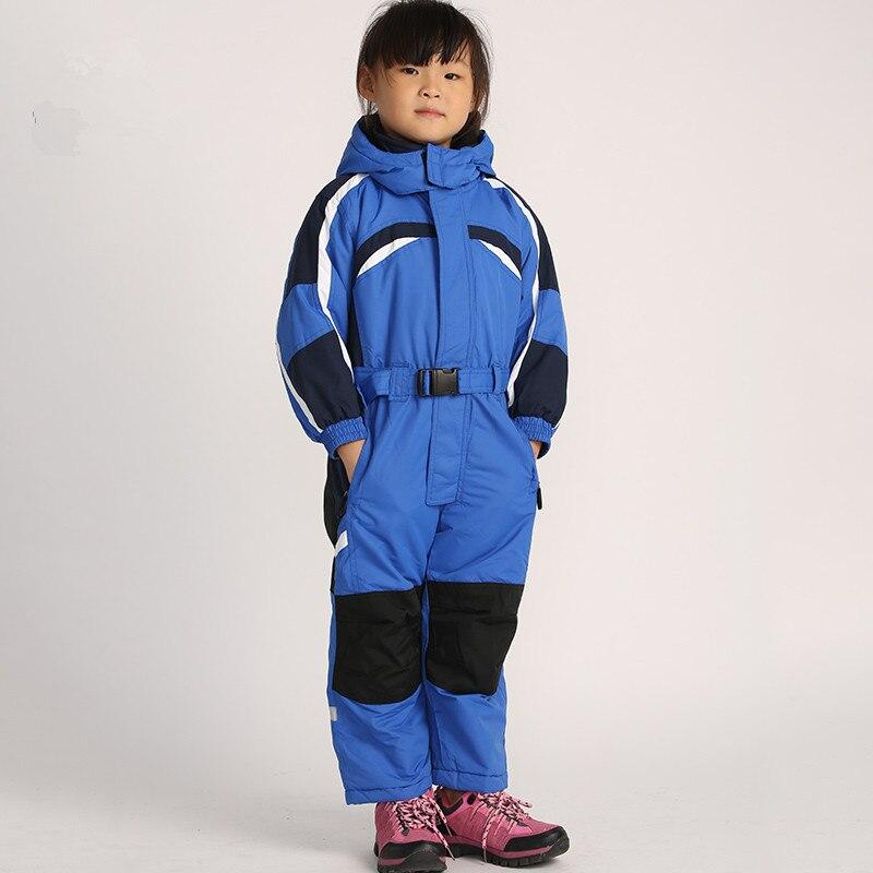 Prix pour D'une seule Pièce de Ski Costumes Enfants De Sports D'hiver Costume pour les Filles garçons Ski Bébé Chaud Salopette Jeux de Neige Ski Snowboard Veste pantalon