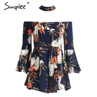 Simplee Sexy Halter Flare Sleeve Jumpsuit Romper Women Off Shoulder Floral Print Playsuit Summer Beach Casual