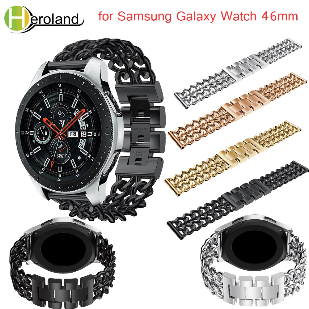 For Samsung Galaxy Watch 46mm Watchband Luxury Denim chain strap Stainless Steel smart Watch Band Replacement metal strap black цена