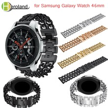 For Samsung Galaxy Watch 46mm Watchband Luxury Denim chain strap Stainless Steel smart Band Replacement metal  black