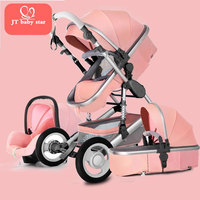 Золотая детская брендовая Высокая Ландшафтная коляска Сидящая откидная Складная 0 3 года переносная новорожденная коляска BB 3 в 1 детская ко