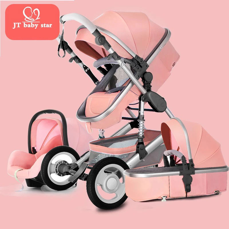 Golden baby brand high landscape stroller seated reclining folding 0-3 years old portable newborn BB cart 3 in 1 baby stroller fashion superweight baby stroller portable high landscape soft baby pram cart aluminum shockproof 3 in 1 folding strollers