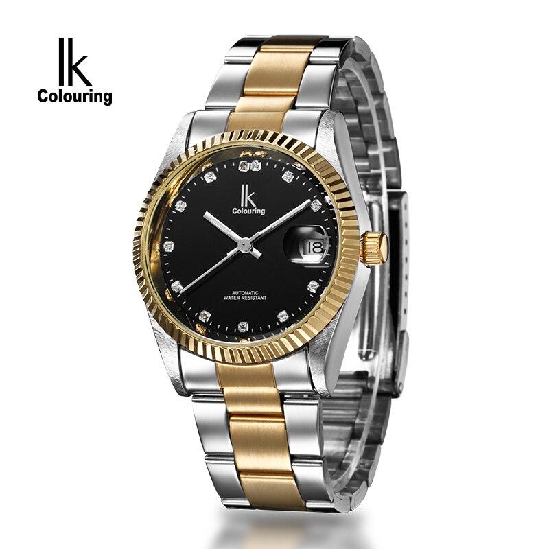 2017 IK Casual Relogio Masculino Mens Day Crystal Watches Auto Mechanical Wristwatch Orignial Box Free Ship