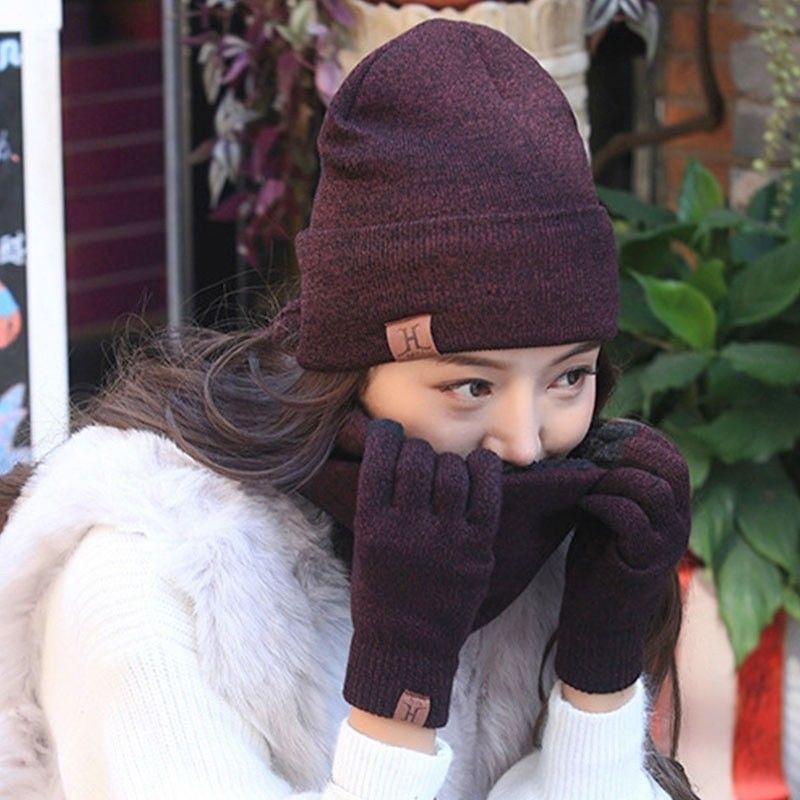 HIRIGIN Beanies Women Winter Warm Bubble Knit Slouchy Baggy Beanie Oversize Winter Hat Ski Solid Skull Slouchy Gloves Cap Sets
