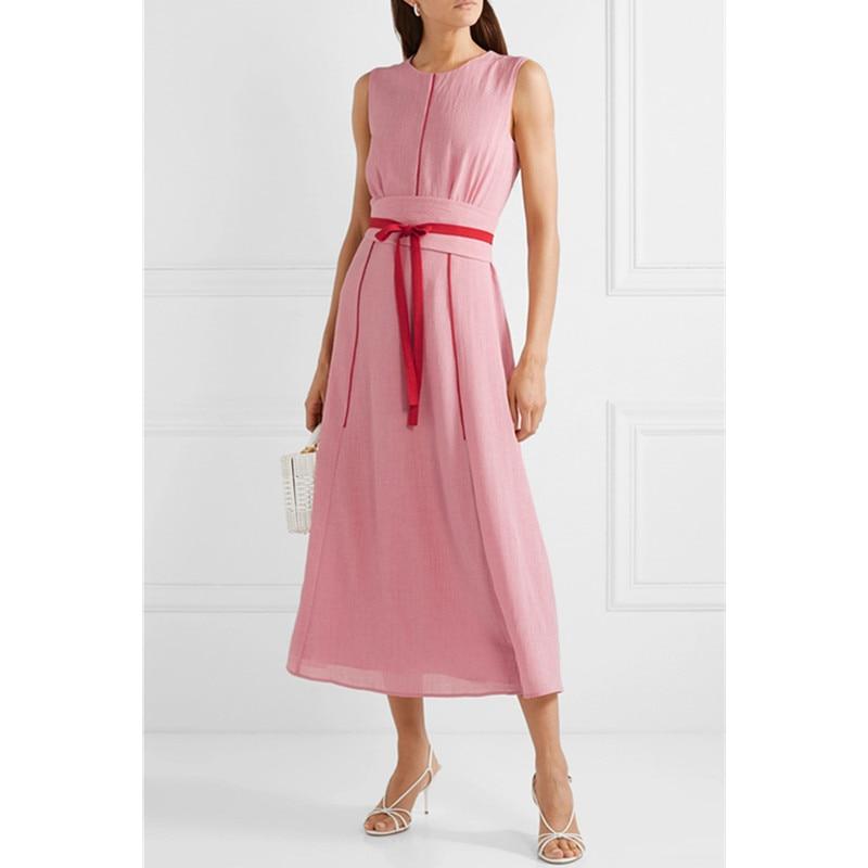 O 목 여름 드레스 2019 새로운 도착 민소매 우아한 발목 길이 드레스 와이드 예쁜 슬림 여성 드레스 솔리드 컬러 벨트-에서드레스부터 여성 의류 의  그룹 1