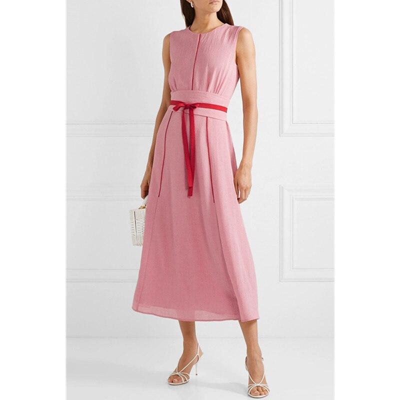 Kadın Giyim'ten Elbiseler'de O boyun yaz elbisesi 2019 Yeni Varış Kolsuz Zarif Ayak Bileği Uzunluğu Elbise Geniş Oldukça Ince Kadın Elbise Düz Renk Kemer'da  Grup 1