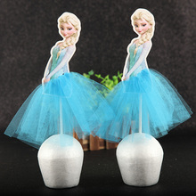 5pcs/lot  Frozen Princess Theme Cake Cupcake Toppers Girls Birthday Party Decoration Supplies