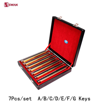 7 stks/set Swan Harmonica 24 Hole Tremolo Harp A/B/C/D/E/F/ G Toetsen met Gift Box Muziekinstrument Mondharmonica voor Verzamelen Gaita