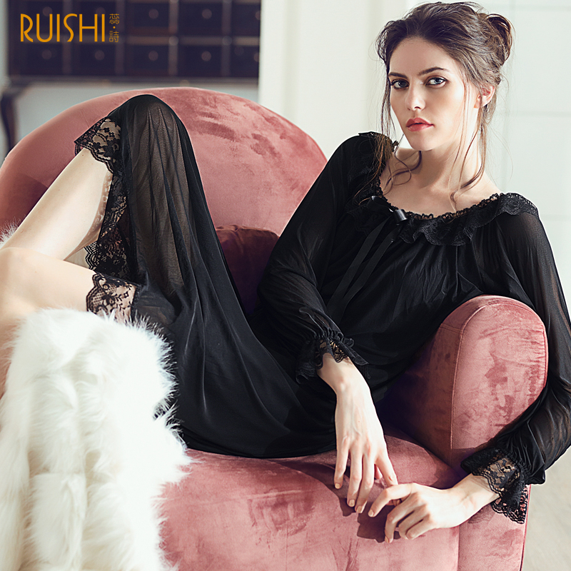 J Q 2019 Sexy Nighty Women Vintage Nightgowns Black Dress Gown Chic Homedress Bow Tie Collar