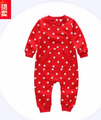 2017 Fashion Baby Boy Girl Rompers Long Sleeve O-neck Stars printed Jumpsuit Newborn Baby Onesie with Hat and Bib Free Shipping plunging neck long sleeve skirted jumpsuit