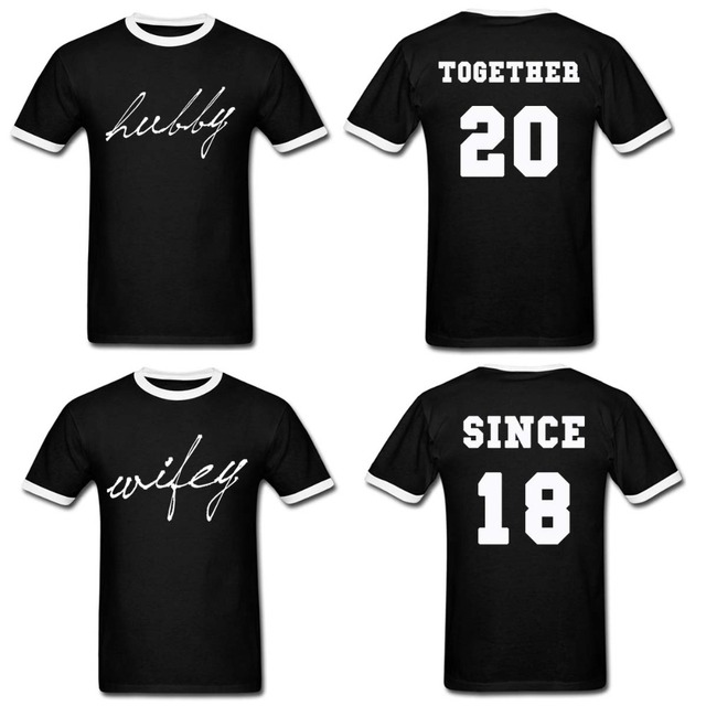 Us 30 6 10 Off Hubby Wifey Couple Matching T Shirt Funny Custom Year Date Personalized Shirts Tee Shirt Homme Valentine S T Shirt Hip Hop Tee In