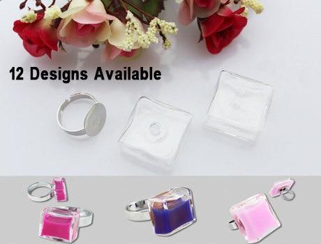 Liquid-Ring-Bottles Bubble Vial-Rings Glass 4PCS Globe DIY 12-Styles-Avaialbe