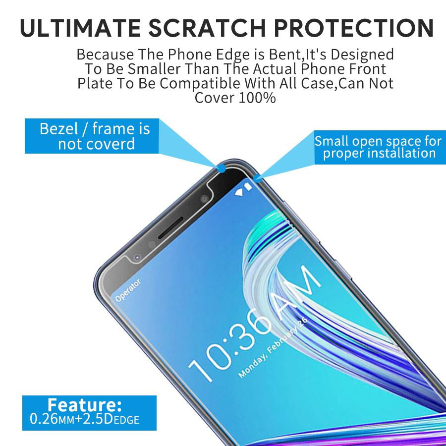 For Leagoo Shark 1 Tempered Glass Screen Protector Film 0 26mm Arc Asus Zenfone Max Pro M1 Zb602kl Color 25d Full Cover 2 3