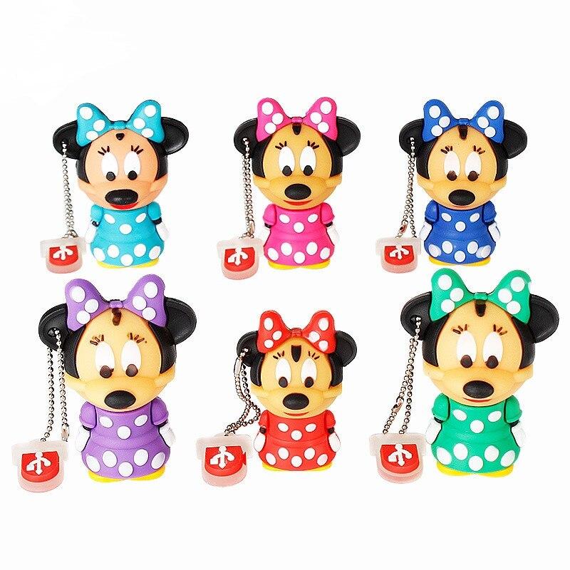 Usb Flash Drive Actual Capacity Pen Drive 128gb Cute Mini Minnie Mouse Mickey Usb 2.0 4GB 8GB 16GB 32GB 64GB Pendrive Child Gift