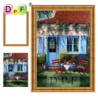DPF 5D Diamond Embroidery Garden Chair With Frame Diamond Painting Cross Stitch Full Round Diamond Mosaic