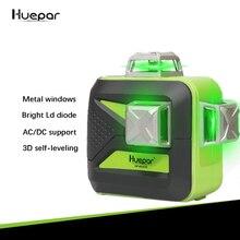 Huepar бренд 12 линий 3D LD диодный лазерный уровень самонивелирующийся 360 горизонтальный вертикальный крест супер мощный зеленый лазерный луч