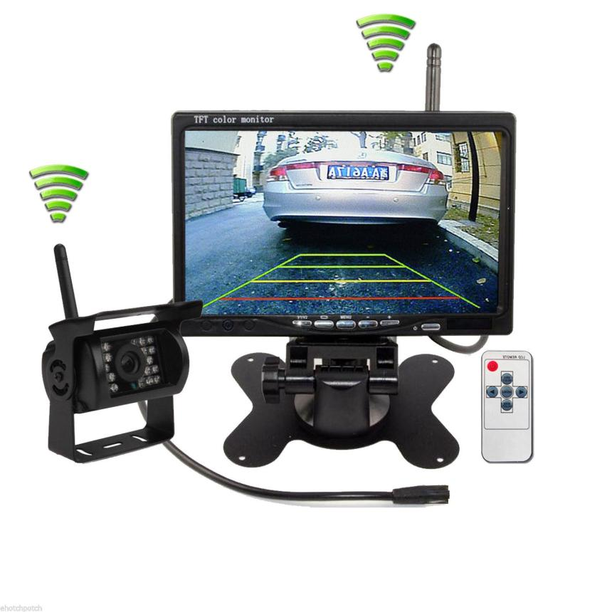 2018 hot sale Newest Wireless IR Rear View Back up Camera Night Vision System+7 Monitor for RV Truck very nice