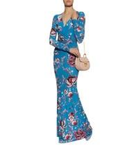 024668457c New Arrival Urocze Niebieski Wydrukowano Stretch Jersey V-neck Szczupła Sukienka  Długa Sukienka 0619EP714C