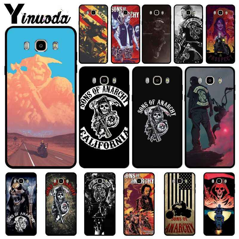 Sons of Anarchy Yinuoda TV Americana Fotos Personalizadas Preto Caixa Do Telefone Para GALAXY s5 borda s7 s8 s6 edge plus plus s9 além de