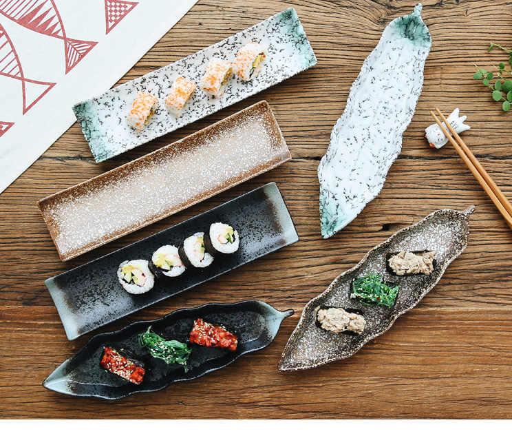 Японская суши теарелка керамическая креативное прямоугольное блюдо Закуски Блюдо для закусок индивидуальная столовая посуда в ретро стиле набор тарелок