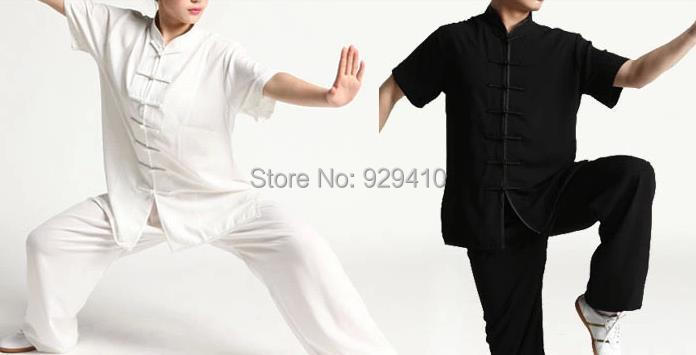 2colors Short sleeves summer unisex martial arts clothes taiji tai chi kung fu uniform clothing set