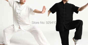 2colors Short sleeves summer unisex martial arts clothes taiji tai chi kung fu uniform clothing set white black