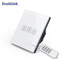 EU Standard 3 Gang 1 Way Light Switch Wireless Remote Control Wall Switch Crystal Glass Panel
