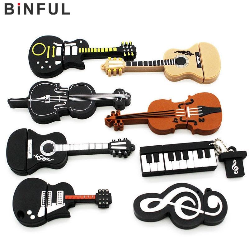 Powerone 8 Styles Musical Instruments Model Pendrive 4gb 16gb 32gb 64gb Usb Flash Drive Violin/piano/guitar Usb Flash Drives External Storage