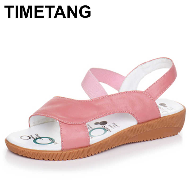 TIMETANG  Genuine Leather Sandals Women Flat Heel Sandals Fashion Summer Shoes Woman Sandals Summer Plus Size 34-43