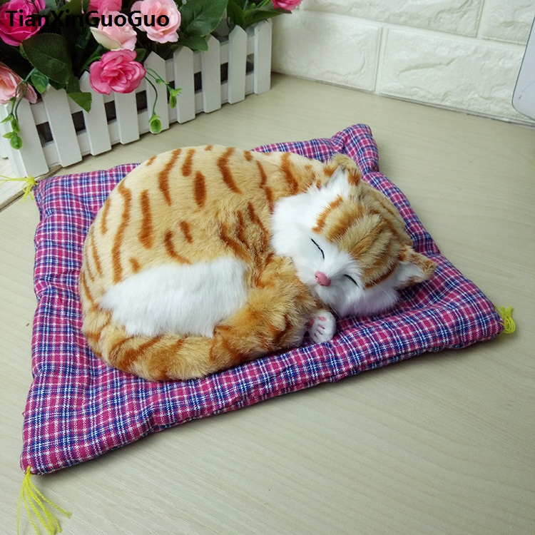 large 30x25cm yellow sleeping cat with mat hard model polyethylene&furs sounds miaow cat prop,home decoration toy gift s1806