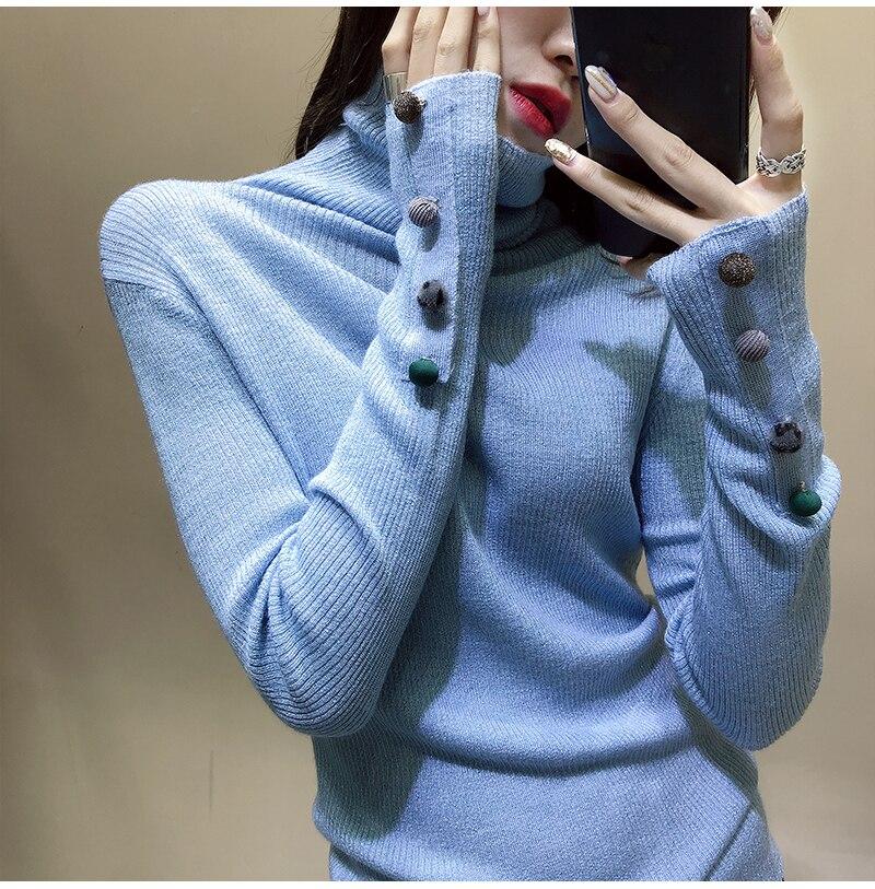 Collo blu Nuovi Di Nero Cotone Delle Del A Toccare Maglia Camicia Pullover Braccialetti In Il Alto il Sfera Dei Feminino Capelli Pieno Polsino Maglione Donne Fondo 2019 Precipitò bianco colore Rosa Poncho Beige Della wqtxTtA8