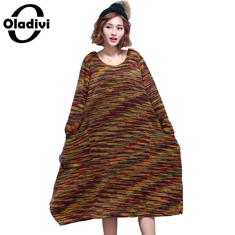 Oladivi Oversized Plus Size Women Apparel Casual Lady Top Tunic Fashion Free Style Female Loose Knitted Dresses Vestido Feminino
