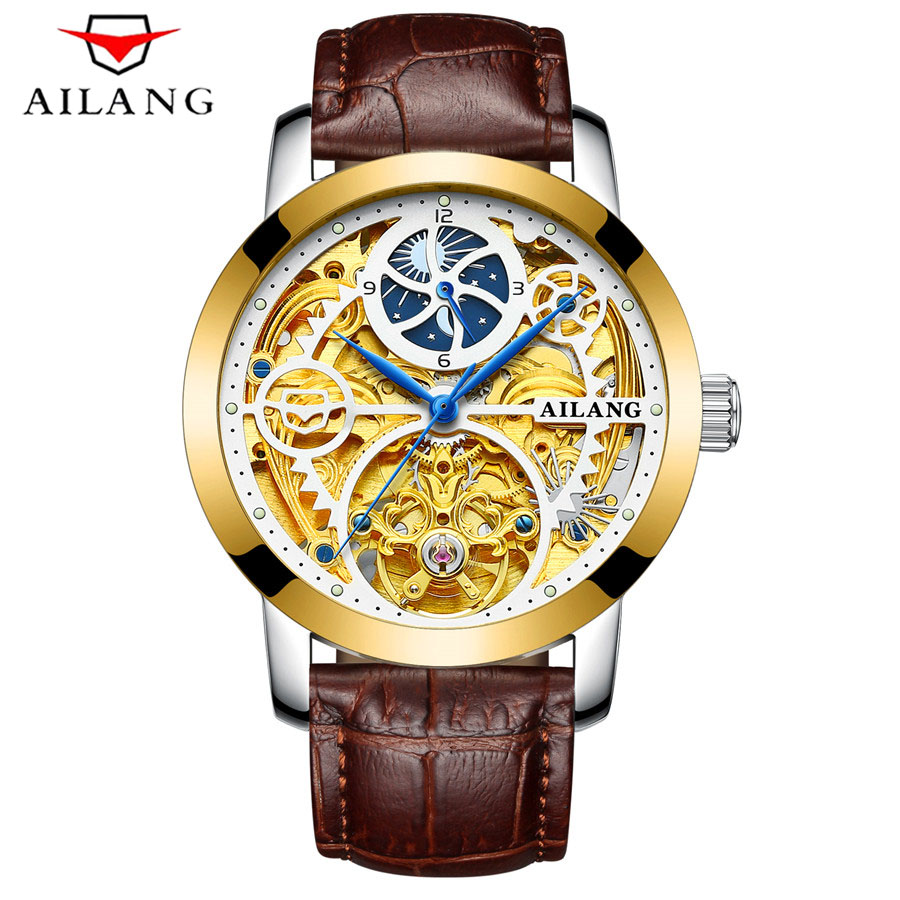 AILANG Mens Top Brand Luxury Skeleton Watch Men Sport Leather Strap Tourbillon Automatic Mechanical Watches relogio masculino mens mechanical watches top brand luxury watch fashion design black golden watches leather strap skeleton watch with gift box