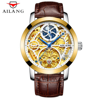 AILANG Mens Top Brand Luxury Skeleton Watch Men Sport Leather Strap Tourbillon Automatic Mechanical Watches relogio masculino
