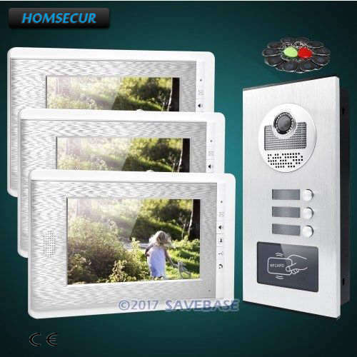 HOMSECUR 7 Apartment Video&Audio Door Entry Kit+Outdoor Monitoring for 3 Families