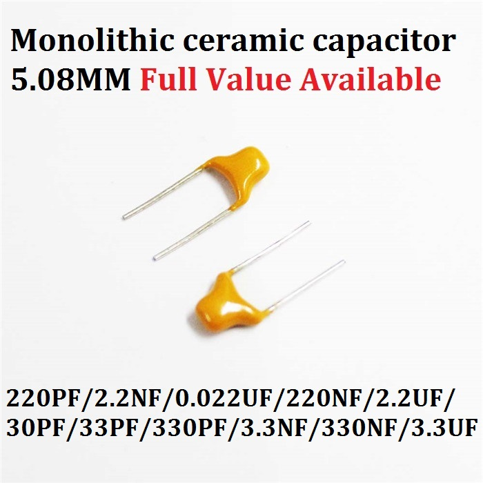50PCS Monolithic Multilayer Ceramic Capacitor 221/222/223/224/225/300/330/331/332/334/335 220PF/2.2NF/0.022UF/220NF/ 50V 5.08MM