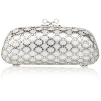 Golden hollow Circle diamond package Clip hard shell Styling handbag Textured dress bag Prom party evening bag P55
