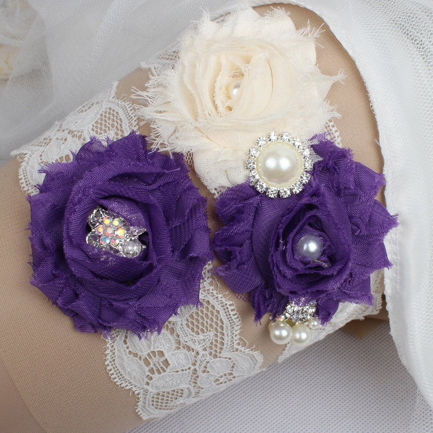 Crystal Wedding Garter: Rhinestone Pearls Purple Flower Bridal Garter Set Vintage