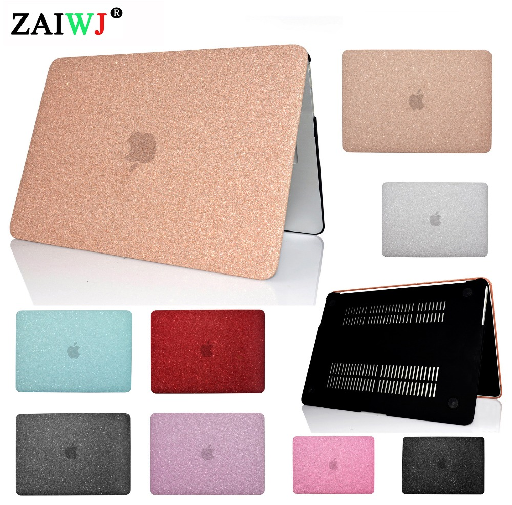 New 2018 Shell ZAIWJ Shine Laptop Case For MacBook Air Retina 11 12 13.3 15 For Mac Book New Pro 13 15 Inch With Touch Bar Cover