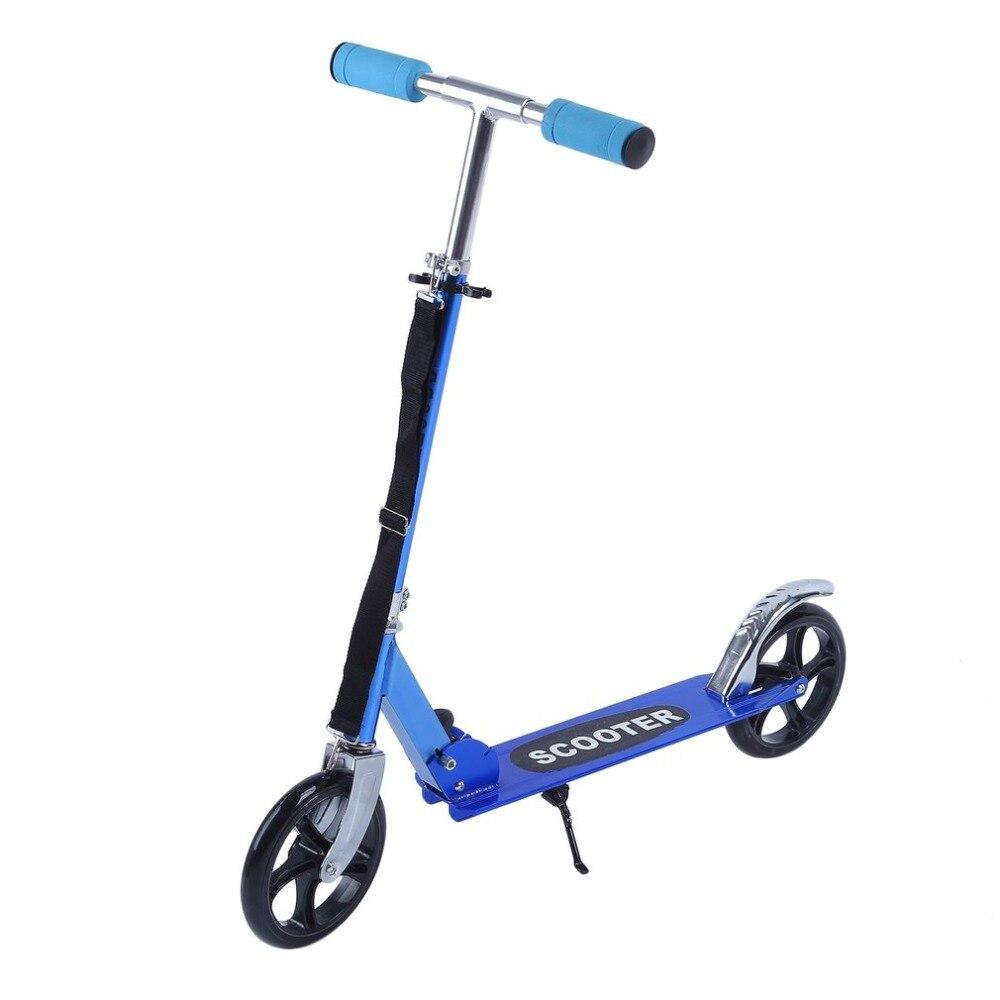 Hommes femmes en plein air pliant Kick Scooter pour enfants 2 roue en polyuréthane en aluminium Scooters hauteur réglable exercice Skateboard charge maximale 90 kg