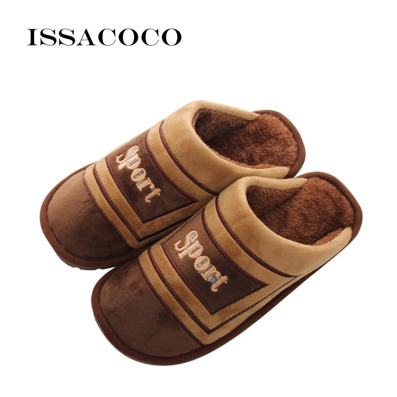 ISSACOCO vīriešu ziemas kokvilnas čības Vīriešu apavi Pantuflas - Vīriešu apavi