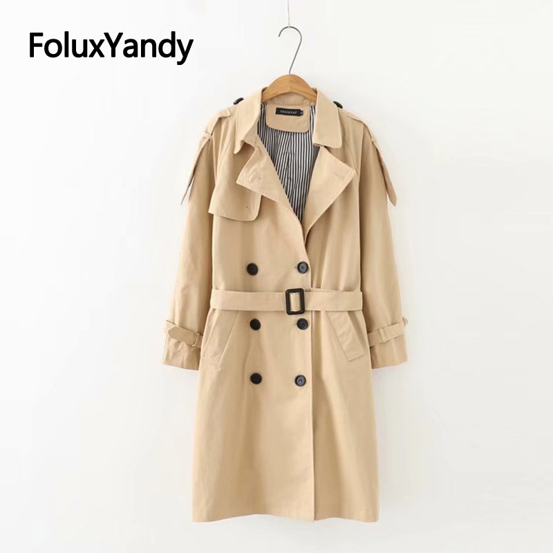 Spring Casual Trench Coat for Women Sashes Epaulet Plus Size Coats XXXL 5XL Loose Long Trench Outerwear KKFY3237