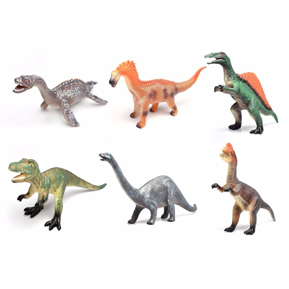 6Pcs Lifelike Dinosaur Model With Sound action figure Jurassic Simulation Dinosaur Sound anime figure Educational Toys For Kids