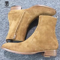 Personalized Handmade Vintage Nobel Luxury Genuine Leather Suede Boots Wyatt Classic Harness Ankle Zipper Chelsea Men