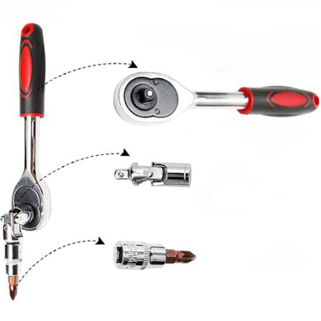 46 шт. 1/4-дюймовый набор торцевых Инструменты для ремонта автомобилей, комплект гаечный ключ Комбинации Бит Набор ключей хром-ванадиевой